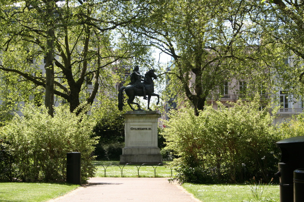 St James's Square London, with London Plane trees, shrubs and statue of King William III