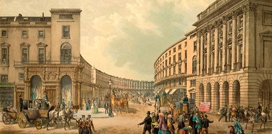 Regent Street was designed  as an amenity, following the Picturesque theory of landscape design