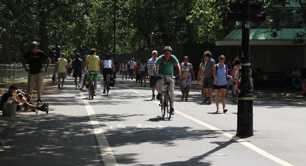 Hyde Park. The Royal Parks Agency does a brilliant job of managing a cycle path that is shared with pedestrians, roller bladers and others
