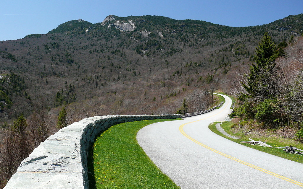 The Blue Ridge Parkway snakes around Grandfather Mountain near the Linn Cove Viaduct at Mile Marker 304 (credit Ken Thomas)