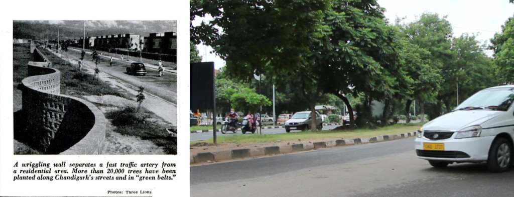 Chandigarh's roads were bare and empty when westerners began criticising the design of the new town. Today, the roads are very busy and well-shaded by banyan trees (photo from The Rotarian, 1959). They are now well-shaded, busy and convenient (right, photo in 2013)