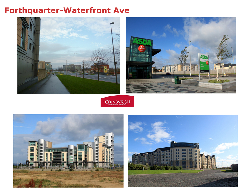 Illustrations, from Alison Kirkwood's 2015 presentation, of the landscape architecture character proposed for the Forthquarter on Edinburgh's Waterfront - or is it a plan for Anywheresville?