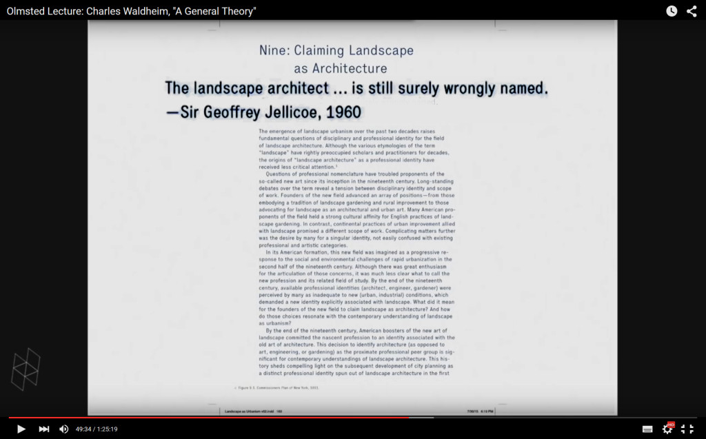 Charles Waldheim lecture on Landscape as Urbanism