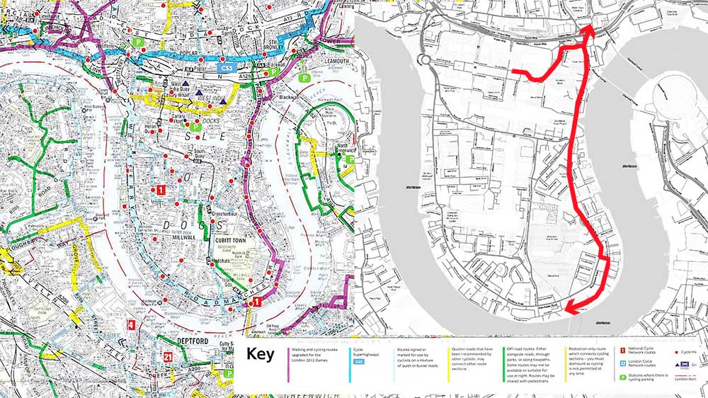 Transport for London TfL made a cycle route on the Isle of Dogs