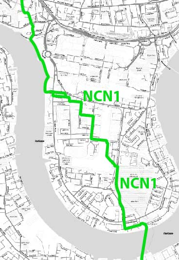 Sustrans planned NCN1 as a recreational cycle route on the Isle of Dogs.