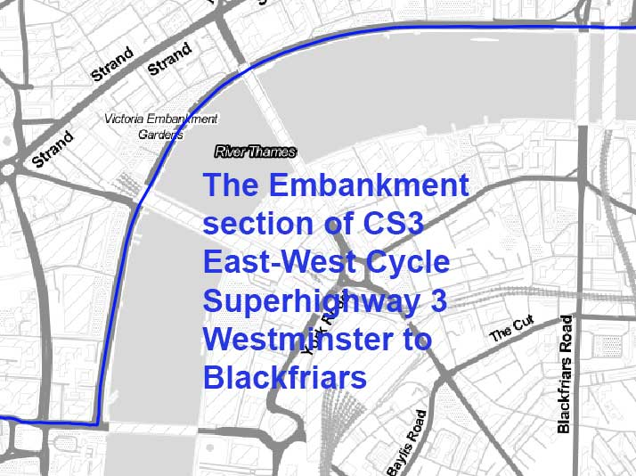 The Embankment section of CS3 East-West Cycle Superhighway 3