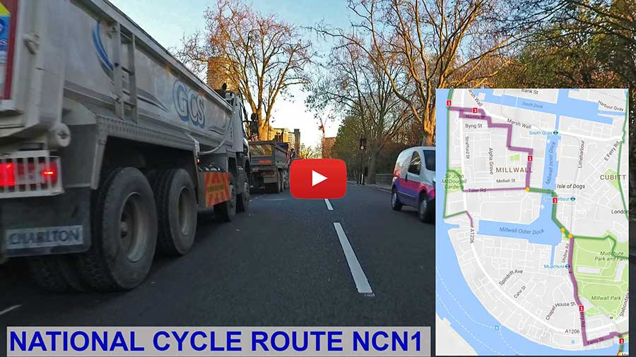 NCN1 National Cycle Route 1 on the Isle of Dogs