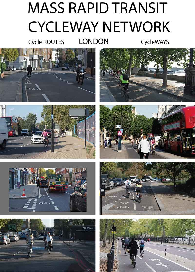 Planning for mass rapid transit cycle networks, using London as an example